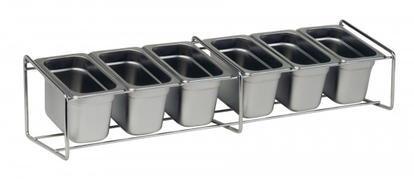 GN-Ständer für Gewürzbehälter Edelstahl 680 x 180 x 155 mm