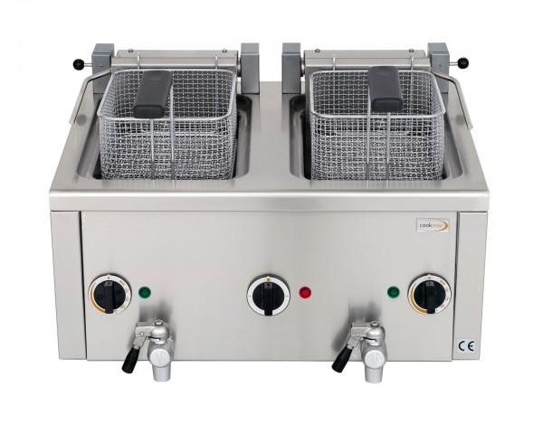 Elektro-Fritteuse 2x 6 l mit Ablasshahn,400V- vollständig in CNS-Edelstahl- mit