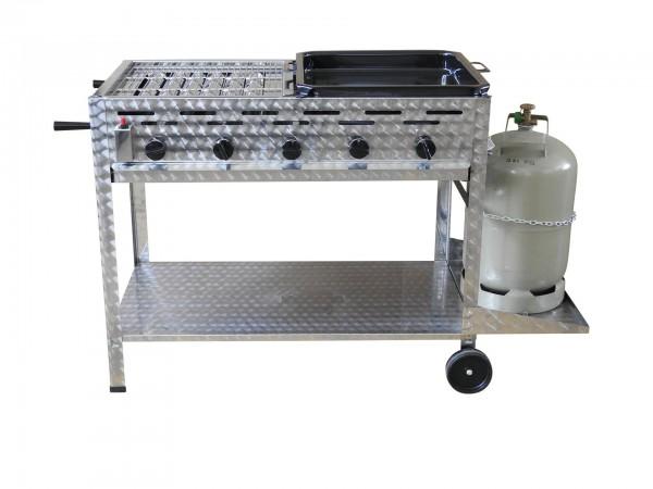 Profi-Gasgrill 5 flammig, fahrbar, mit 1/2 Rost und 1/2 Pfanne