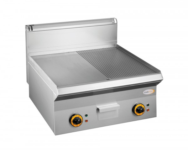 Elektro-Grillplatte 2 Heizonen 1/2 glatt 1/2 gerillt 600 x 650 x 270 mm