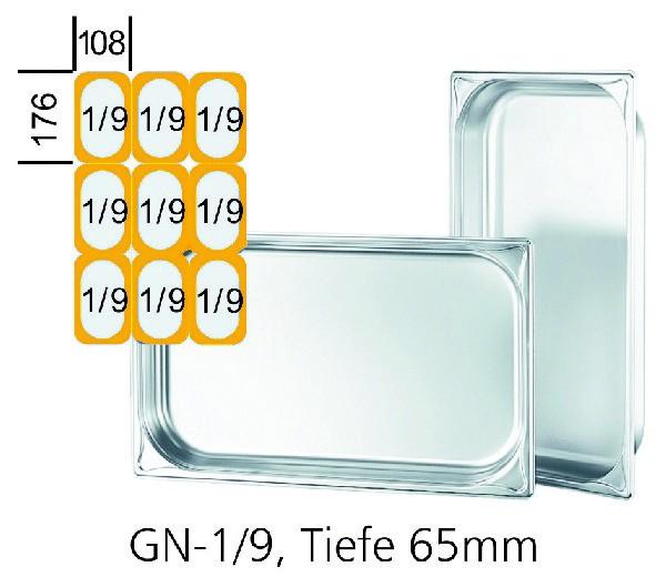 GN-Behälter GN 1/9 176 x 108 x 65 mm Edelstahl