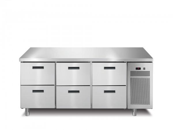 Tiefkühltisch 6 Schubladen ohne Aufkantung 1721 x 700 x 850 mm