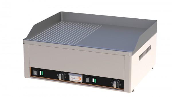 Elektro-Grillplatte 2 Heizzonen 1/2 glatt 1/2 gerillt 660 x 540 x 220 mm