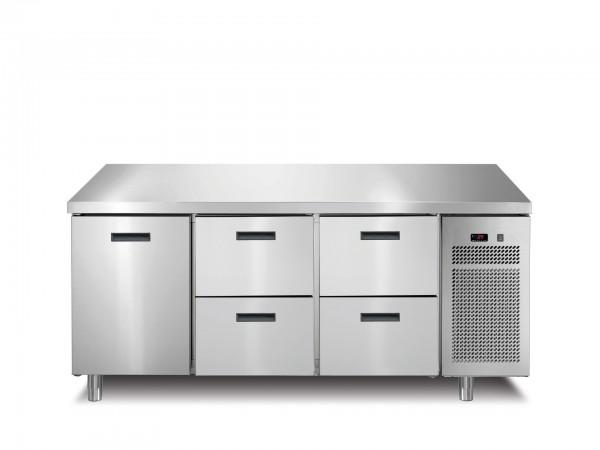 Tiefkühltisch 1 Tür 4 Schubladen ohne Aufkantung 1721 x 700 x 850 mm