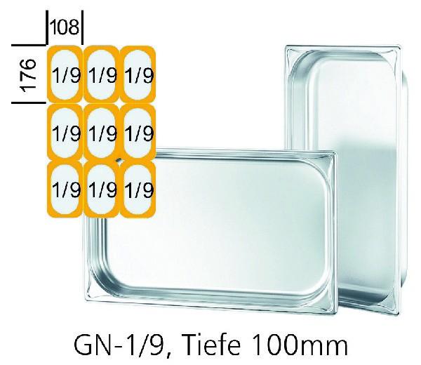 GN-Behälter GN 1/9 176 x 108 x 100 mm Edelstahl