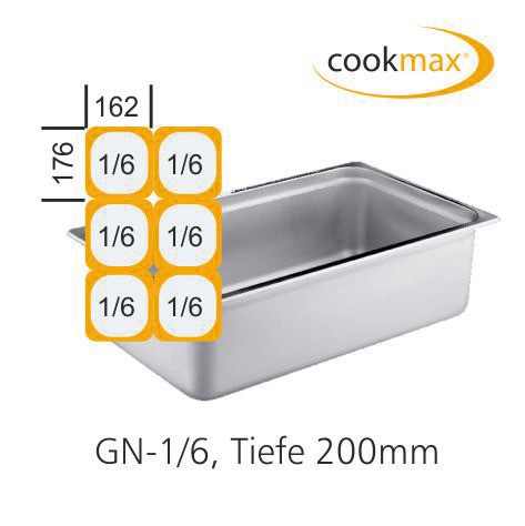 GN-Behälter GN 1/6 176 x 162 x 200 mm Edelstahl
