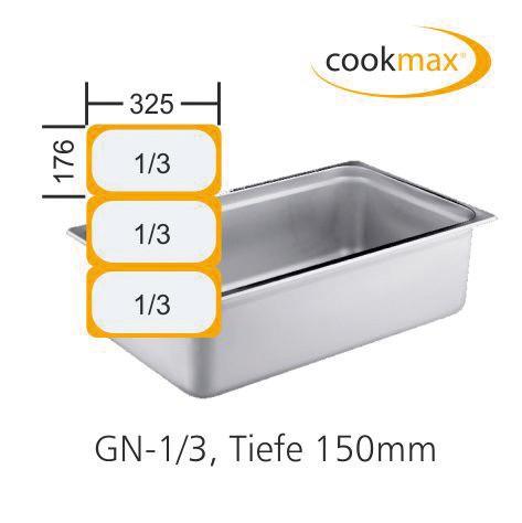 GN-Behälter GN 1/3 325 x 176 x 150 mmEdelstahl- in 18/8 Chrom-Nickel-Stahl- Mate