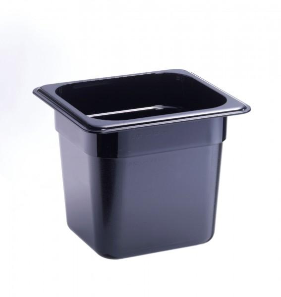 GN-Behälter GN 1/6 176 x 162 x 150 mmPolycarbonat schwarz- Polycarbonat- mit Sta