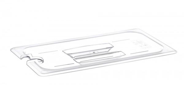 GN-Deckel GN 1/3 325 x 176 mm mit Griff und Aussparung Polycarbonat transparent