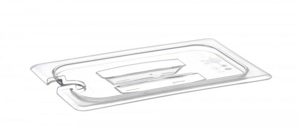 GN-Deckel GN 1/4 265 x 162 mm mit Griff und Aussparung Polycarbonat transparent