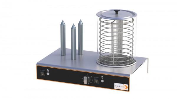 Hot Dog-Gerät mit Glasbehälter und 3 Brötchenspießen 480 x 300 x 350 mm