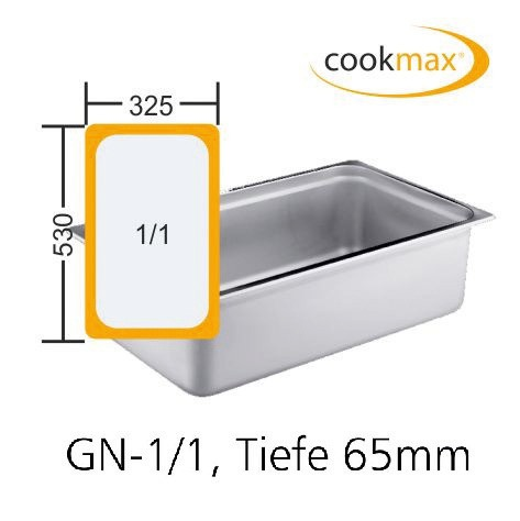 GN-Behälter GN 1/1 530 x 325 x 65 mmEdelstahl- in 18/8 Chrom-Nickel-Stahl- Mater