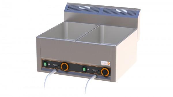 Elektro-Bain-Marie 2 x GN 1/1 H=150 mm mit Ablaufhahn 660 x 600 x 290 mm
