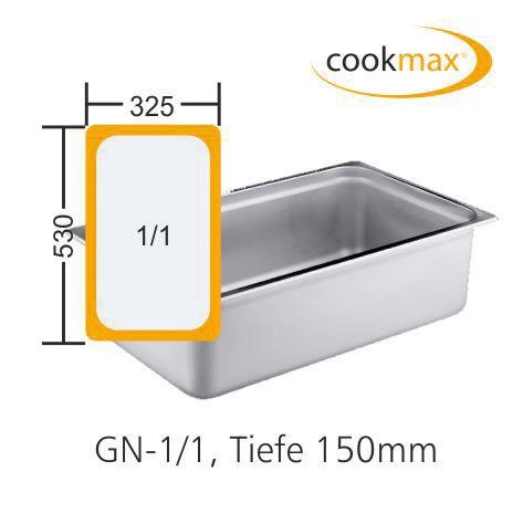 GN-Behälter GN 1/1 530 x 325 x 150 mmEdelstahl- in 18/8 Chrom-Nickel-Stahl- Mate