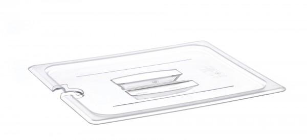 GN-Deckel GN 1/2 325 x 265 mm mit Griffund Aussparung Polycarbonat transparent-