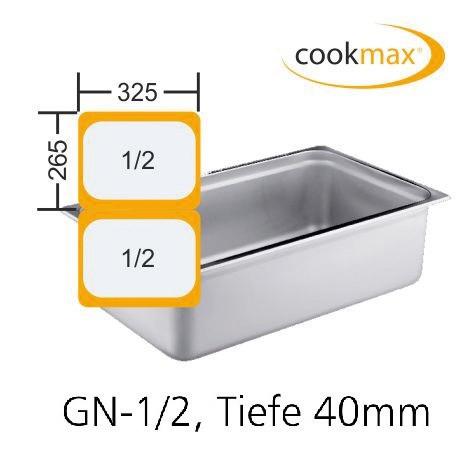 GN-Behälter GN 1/2 325 x 265 x 40 mm Edelstahl