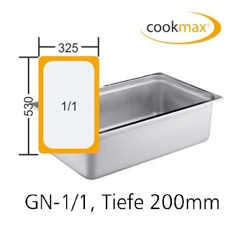 GN-Behälter GN 1/1 530 x 325 x 200 mmEdelstahl- in 18/8 Chrom-Nickel-Stahl- Mate