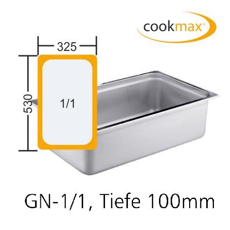 GN-Behälter GN 1/1 530 x 325 x 100 mmEdelstahl- in 18/8 Chrom-Nickel-Stahl- Mate