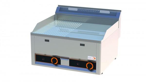 Gas-Grillplatte 1/2 gerillt 1/2 glatt verchromt 2 Heizzonen 660 x 600 x 290 mm| Cookmax