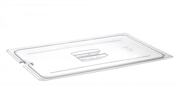 GN-Deckel GN 1/1 530 x 325 mm mit Griff und Aussparung Polycarbonat transparent