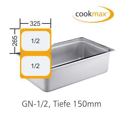 GN-Behälter GN 1/2 325 x 265 x 150 mm Edelstahl